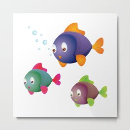 Colorful Fishes with Bubbles Metal Print