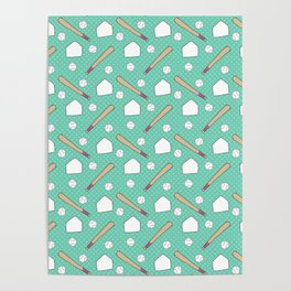 Boy baseball pattern on a teal background Poster