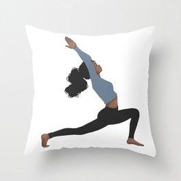 Yoga Girl Blue II Throw Pillow