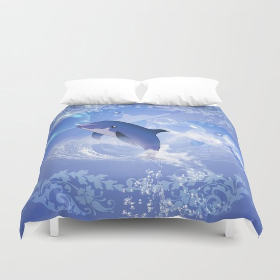 Funny cartoon dolphin Duvet Cover