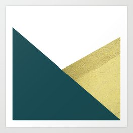 Teal gold geometric color block Art Print