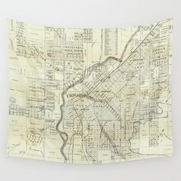 Vintage Map of Denver CO (1879) Wall Tapestry