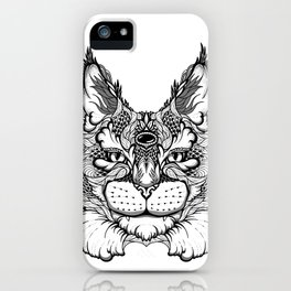 CAT maine coon  / LYNX head. psychedelic / zentangle style iPhone Case