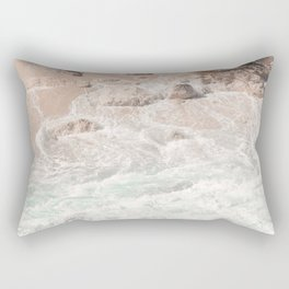 Blue Waves Ocean Photo Print | Summer Beach Colors Sea Tropical Art | Bali Coast Travel Photography Rectangular Pillow
