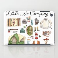 backpack iPad Cases featuring Let's Go Camping by Brooke Weeber