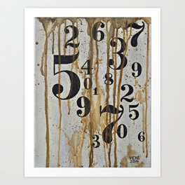 Numeric Values: Crude Figures Art Print
