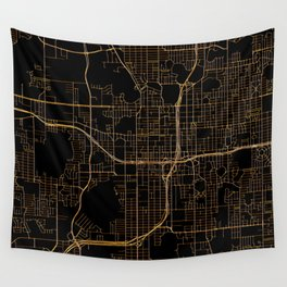Black and gold Orlando map Wall Tapestry
