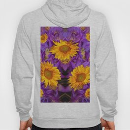 YELLOW SUNFLOWERS AMETHYST FLORALS Hoody