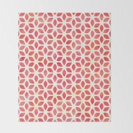 Watercolor Geometric Coral Red & Yellow Petal Pattern Throw Blanket