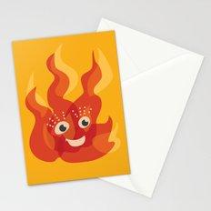 Happy Burning Cartoon Fire Stationery Cards