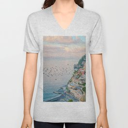 Positano at Dusk Unisex V-Neck