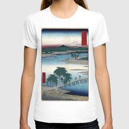 Hiroshige - 36 Views of Mount Fuji (1858) - 13: The Tama River in Musashi Province T-shirt