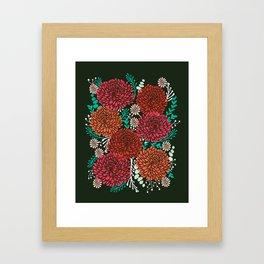 Chrysanthemums - Floral, Flower, Vintage, Design, Illustration by Andrea Lauren Framed Art Print