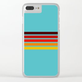 Five Colorful Stripes on Blue Rainbow Clear iPhone Case