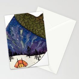 Camping under Aurora Borealis in a Nutshell Stationery Cards