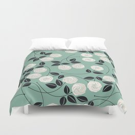 Pattern with white roses Duvet Cover