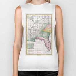 Vintage Map of Florida, Georgia and The Carolinas Biker Tank
