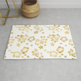 Gold Tropical Flowers Rug