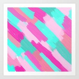 Girly Artsy Pink Teal Coral Brushstrokes Pattern Art Print