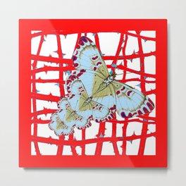 RED-WHITE MOTHS  IN SYNCHRONIZED FLIGHT Metal Print