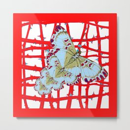 RED-WHITE MOTHS  IN SYNCHRONIZED FLIGHT Metal Print