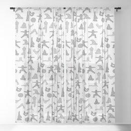 Grey Yoga Pattern Sheer Curtain