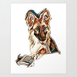 German Shepherd Accountant        - Image Art Print