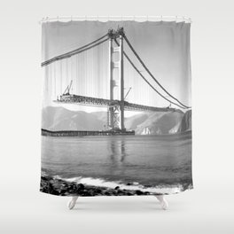 Construction of the Golden Gate Bridge, 1935, San Francisco Bay black and white photograph Shower Curtain