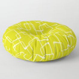 Lime Green Retro Geometric Pattern Floor Pillow
