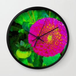 Camera on florals 9 Wall Clock