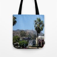 hollywood Tote Bags featuring Hollywood by Elizabeth Tompkins