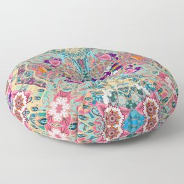 Turquoise Floral -  Hippie Style  Floor Pillow