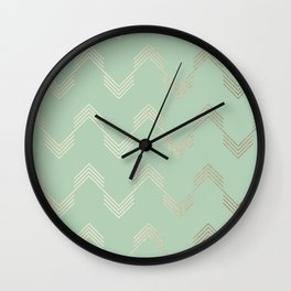 Simply Deconstructed Chevron in White Gold Sands and Pastel Cactus Green Wall Clock