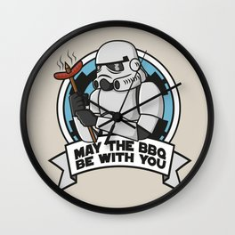 May the BBQ be with you Wall Clock