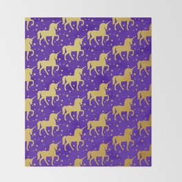 Purple and Gold Unicorn and Stars Pattern Throw Blanket