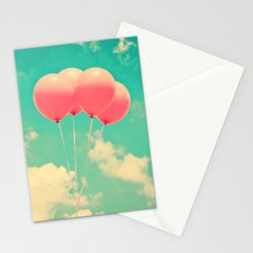 Balloons in the sky (pink ballons in retro blue sky) Stationery Cards