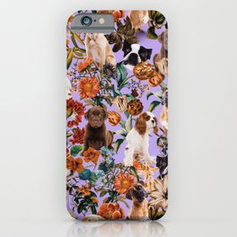 Dog and Floral Pattern iPhone Case