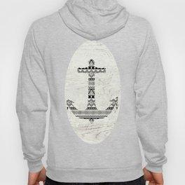 Aztec Nautical Anchor Black White Vintage Wood Hoody