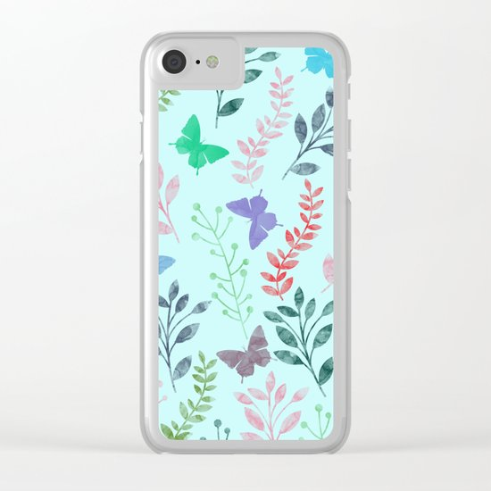 Watercolor flowers & butterflies II Clear iPhone Case
