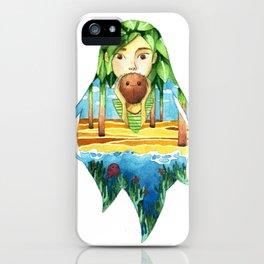 Summer coconut girl landscape iPhone Case