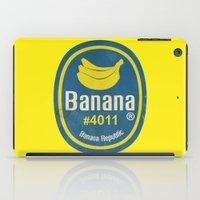 sticker iPad Cases featuring Banana Sticker On Yellow by Karolis Butenas