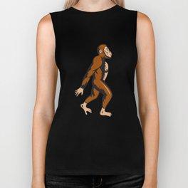 Neanderthal Man Walking Side Cartoon Biker Tank