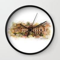 theatre Wall Clocks featuring Slowacki Theatre, Cracow by jbjart