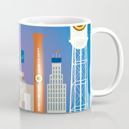Durham, North Carolina - Skyline Illustration by Loose Petals Coffee Mug