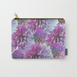 Neon pink lilac lavender watercolor hand painted flowers Carry-All Pouch