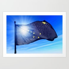 Alaska (USA) flag waving on the wind Art Print