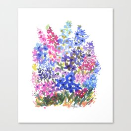 Blue Delphinium Garden Canvas Print