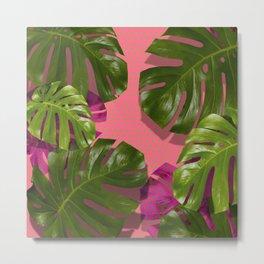"""Tropical monstera polka dots pastel pink"" Metal Print"