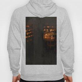 Burning city buildings urban destruction digital illustration Hoody