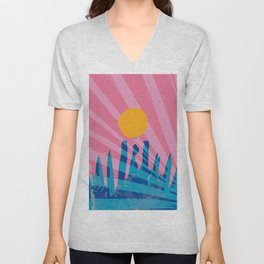 Yellow sun in the pink sky of the French Riviera Unisex V-Neck